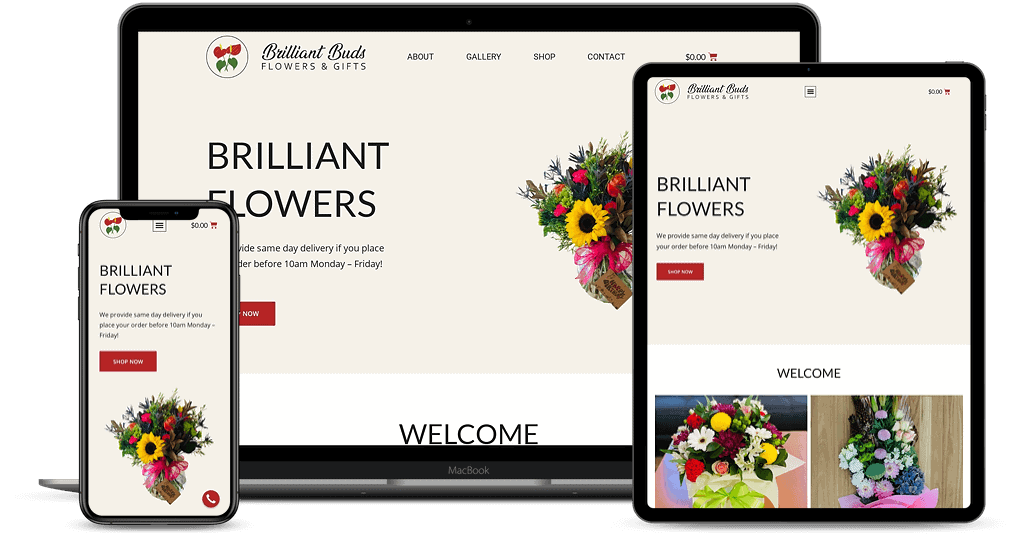 Brilliant Buds Flowers an Gifts website shown on Multiple Devices
