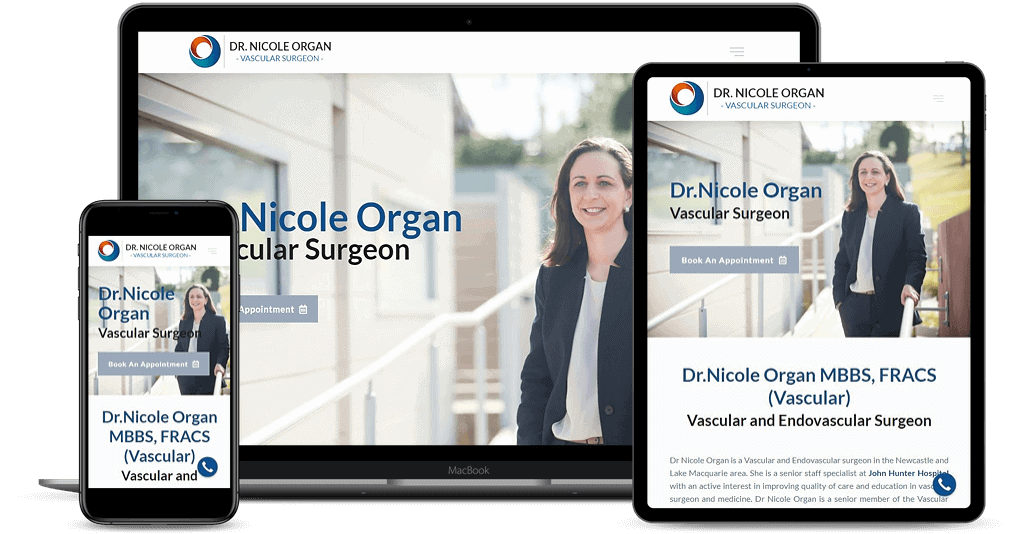 Dr Nicole Organ website shown on Multiple Devices