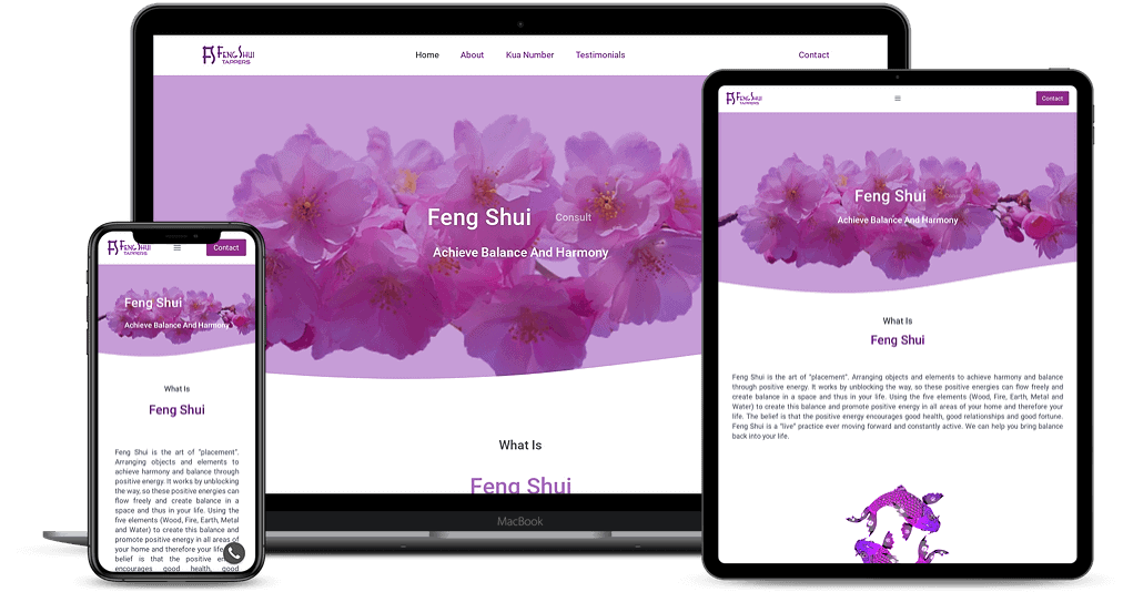 Feng Shui Tappers website shown on Multiple Devices