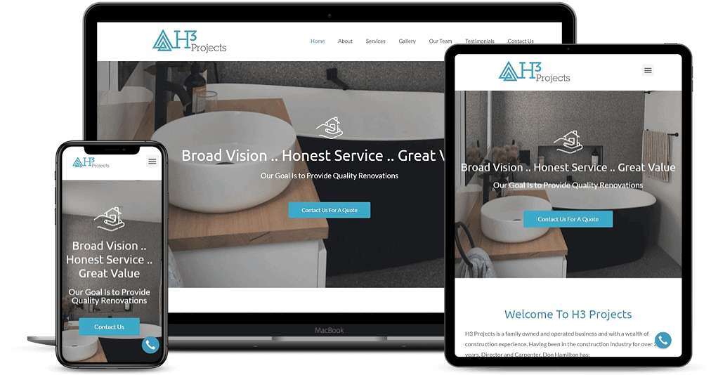H3 Projects website shown on Multiple Devices