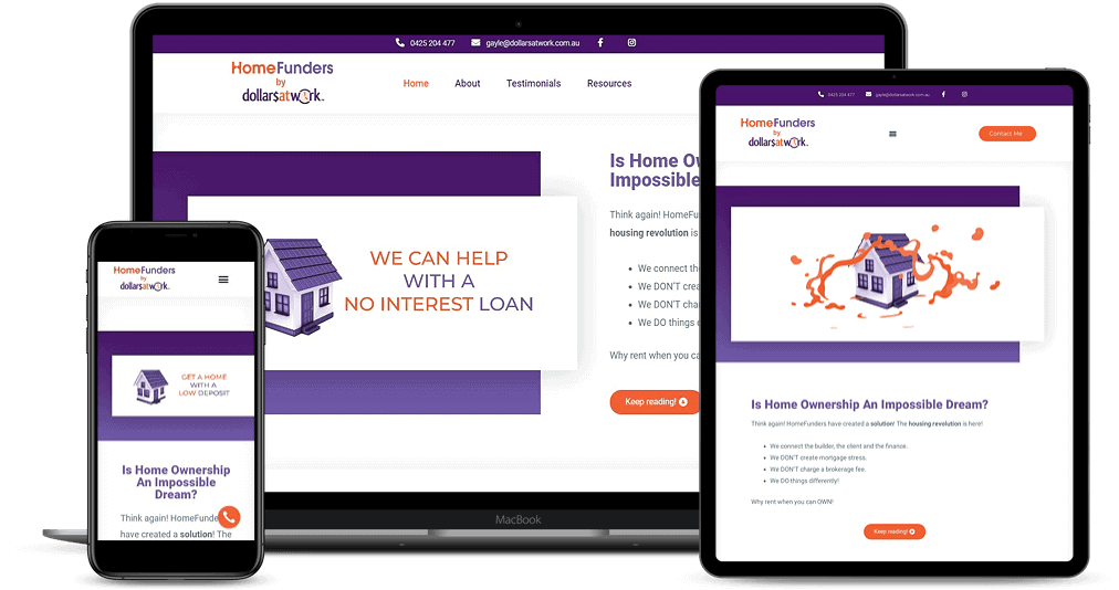Home Funders Australia website shown on Multiple Devices