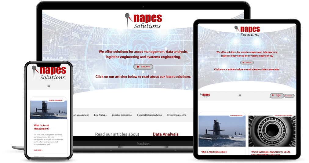 NAPES Solutions website shown on Multiple Devices