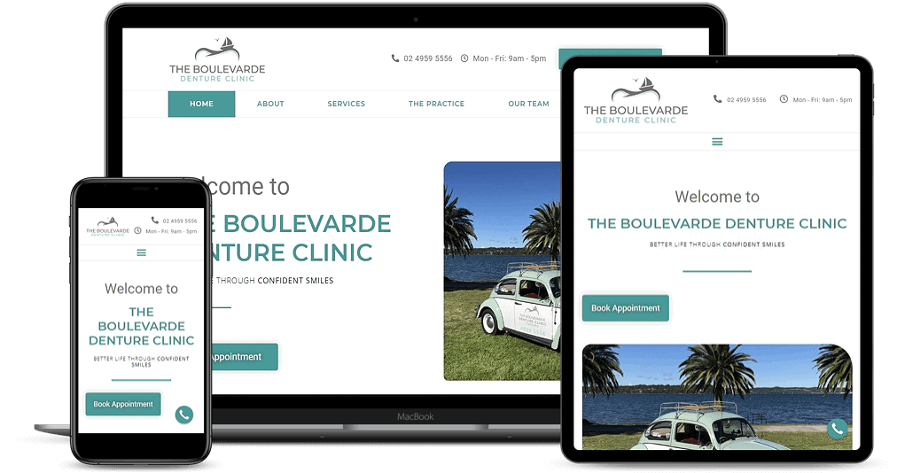 The Boulevarde Denture Clinic website shown on Multiple Devices