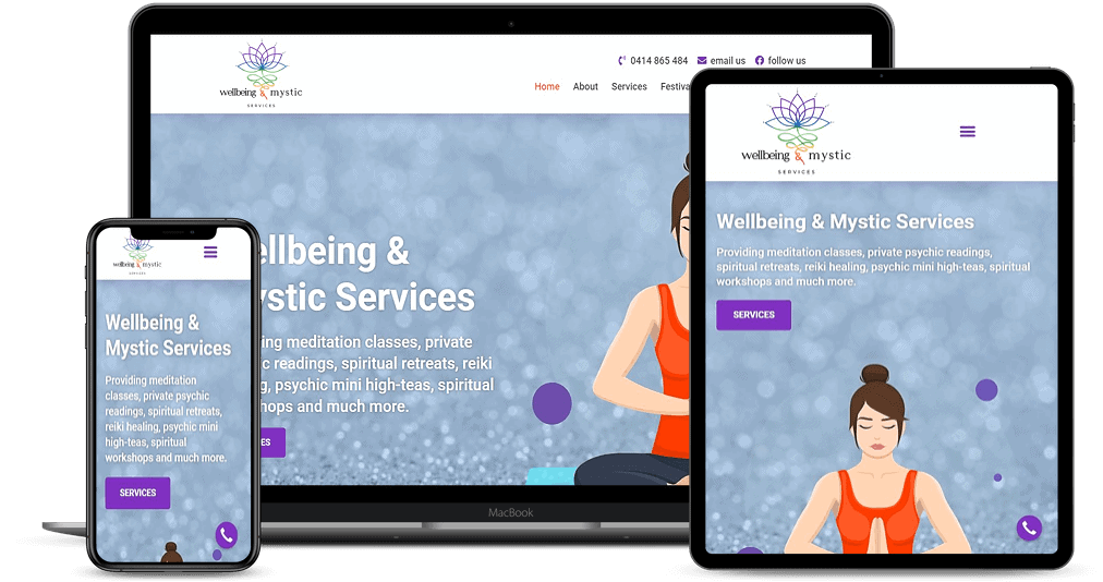 Wellbeing and Mystic Services website shown on Multiple Devices