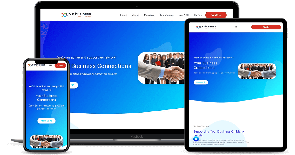 Your Business Connections website shown on Multiple Devices