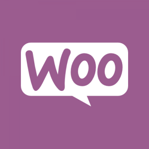 Purple and white WOO commerce icon